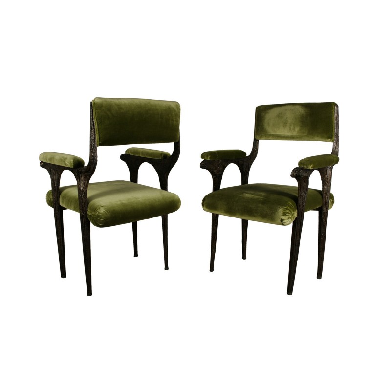 Paul Evans Arm Chairs In Sculpted Bronze II