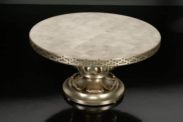 Fig. 5. Lotus low table, designed by Mont, 1963 for the Orlowitz penthouse. Maple finished in silver leaf with gold leaf accents; height 15 1/2, diameter 30 inches. Private collection.
