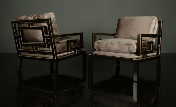 Fig. 1. Pair of club chairs, designed by James Mont (1904-1978), New York City, 1963, for the penthouse in Miami, Florida, of Ellis Orlowitz (1919-2000). Maple with black lacquer, gold leaf, and gray silk velvet upholstery; height 27 1/2, width 26 1/2, depth 29 inches. Private collection; except as noted photographs are by courtesy of Todd Merrill and Associates, New York City.