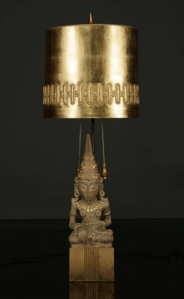 Fig. 2. Lamp, designed by Mont, c.1940. Gilded ceramic, wood, paper, and carved plaster with gold-leaf finish, and shade of heavy paper, gold leaf, and applied ring of carved plaster; height 46, diameter 17 inches. Collection of Todd Merrill.