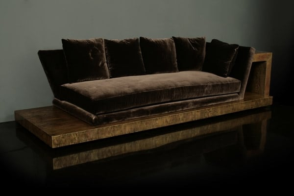 "Fig. 4. Opium den sofa, designed by Mont, c. 1948, manufactured 1963, for the Orlowitz penthouse. Branded ""James Mont Designs"" on the underside of the sofa. Oak with silver leaf over black and orange primer with antiqued lacquer finish and velvet upholstery; height of sofa 28, length overall 112, depth overall 40 inches. Private collection."