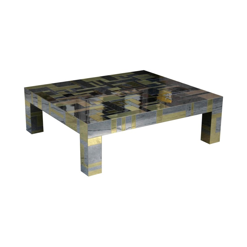 Attrayant Paul Evans Directional Cityscape Coffee Table In Chrome And Brass