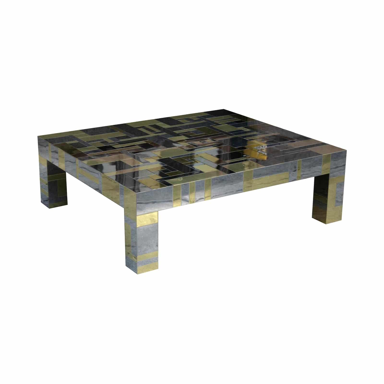 Paul Evans Directional Cityscape Coffee Table In Chrome And Brass Todd Merrill Studio