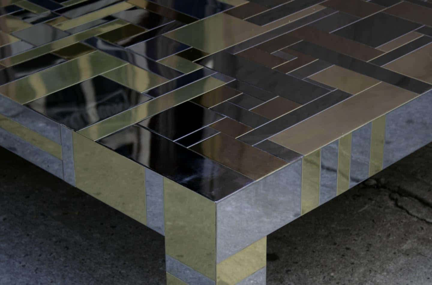 Paul Evans Directional Cityscape Coffee Table in Chrome and Brass