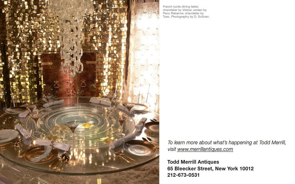 French lucite dining table; chandelier by Vistosi; screen by Paco Rabanne; chandelier by Toso. Photography by D. Sullivan.