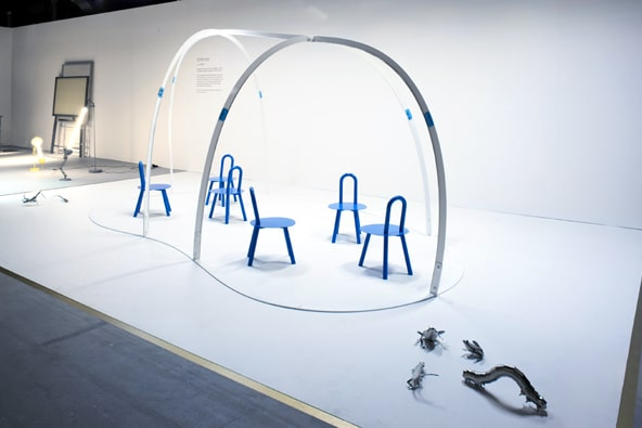 Studio Juju of Singapore, the third of the Designers of the Future Award winners, explored the idea of conversation by creating a metal-framed virtual tent, which defined a conversation space (filled with chairs of their own design), while not constricting it.