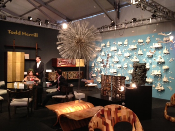Harry Bertoia's steel Dandelion, 1951, in the middle of the Todd Merrill booth