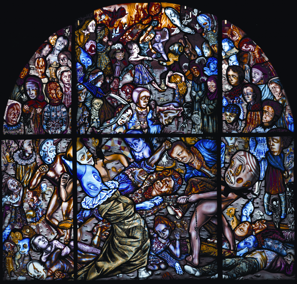 (above left) Detail of Battle of Carnival and Lent by Judith Schaechter, 2012. Stained glass, 55 by 56 inches overall. Courtesy of the artist and Claire Oliver Gallery, New York.