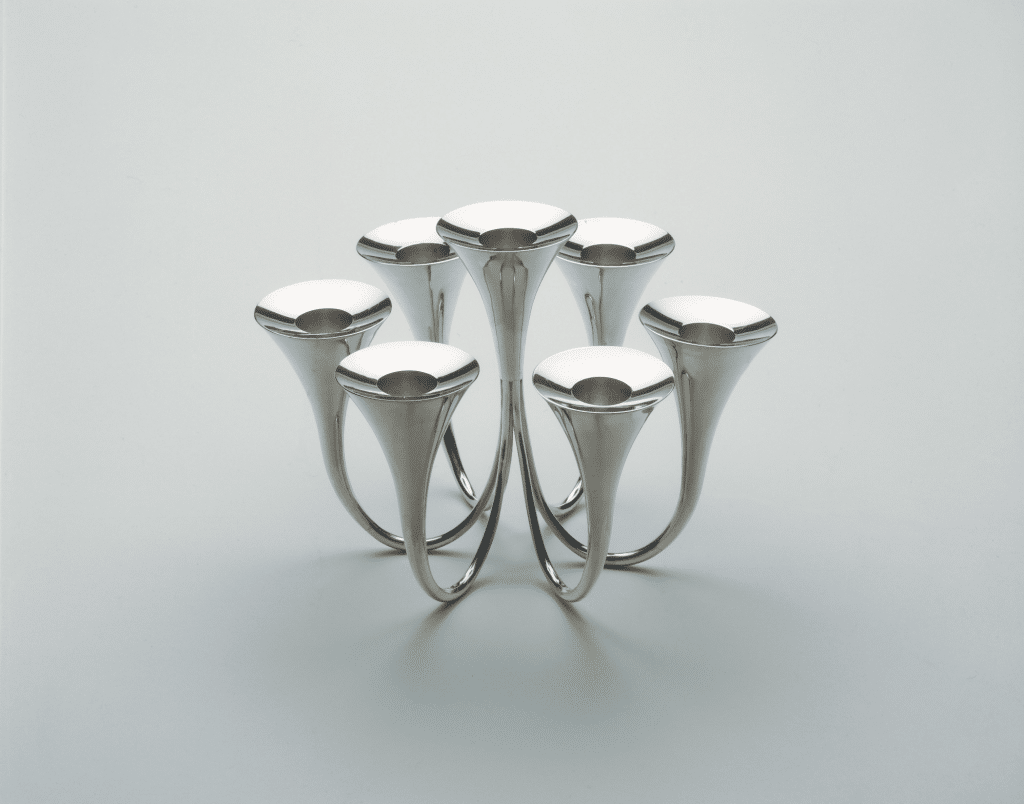 Candelabrum by Skoogfors, 1957. Silver; heigh 5 7/8, width 8 1/2 inches. Philadelphia Museum of Art, gift of Judy Skoogfors.