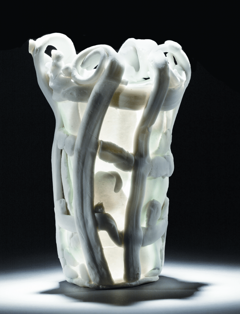 Vase by Staffel, 1973. Porcelain washed with copper salts; height 8 ⅞, diameter 5 ⅝ inches. Philadelphia Museum of Art, gift of Dr. and Mrs. Perry Ottenberg.