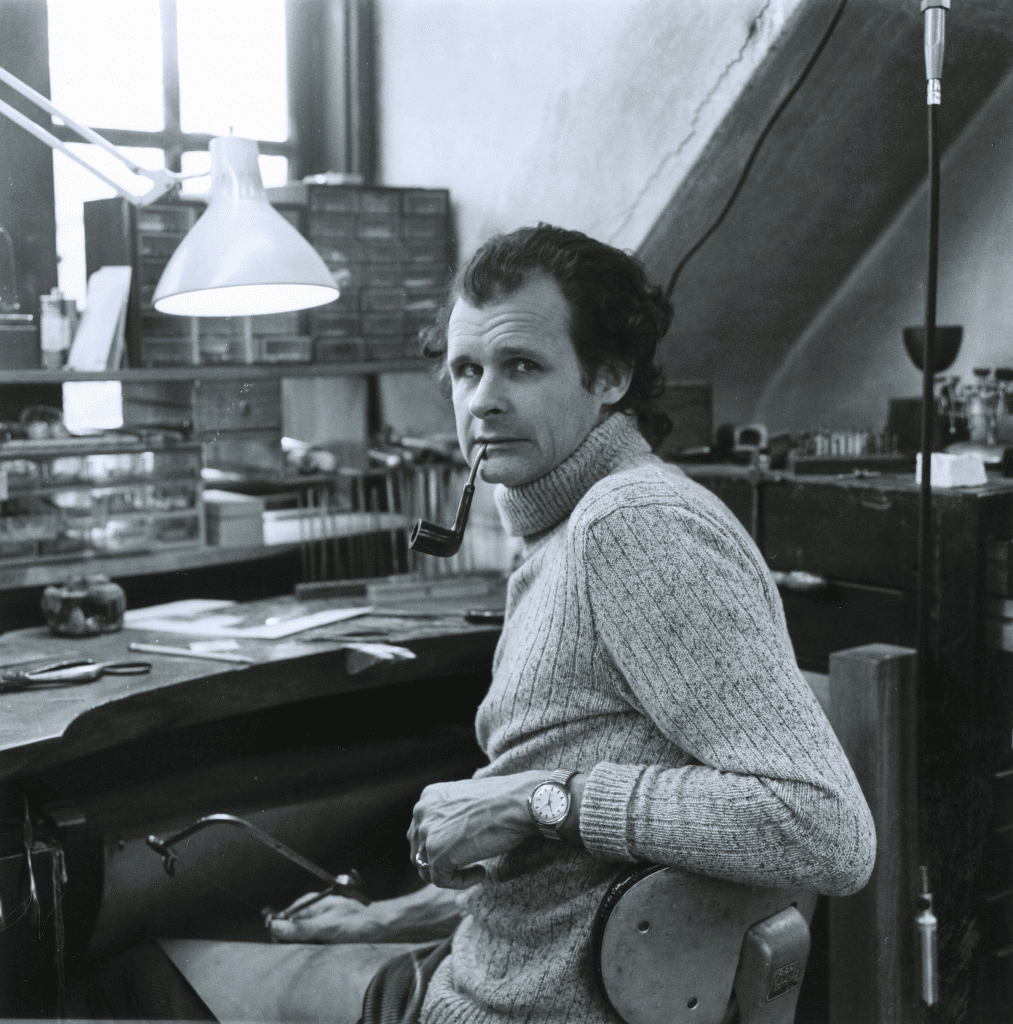Olaf Skoogfors (1930-1975) in his Mt. Airy studio, early 1970's. Courtesy of Judy Skoogfors-Prip.