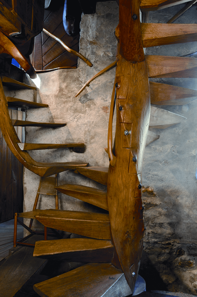 Esherick's Spiral stair of 1930 was removed from the house twice for exhibition: in 1939 at the New York World's Fair, and again in 1958 for a retrospective at the Museum of ContemporaryCrafts. Wharton Esherick Museum; photograph by James Mario.