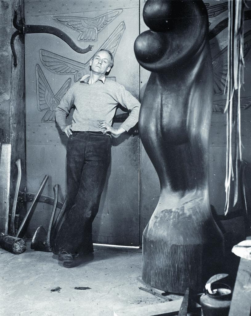 Wharton Esherick (1887-1970) in a photograph by Emil C. Luks, c. 1940. Wharton Esherick Museum.