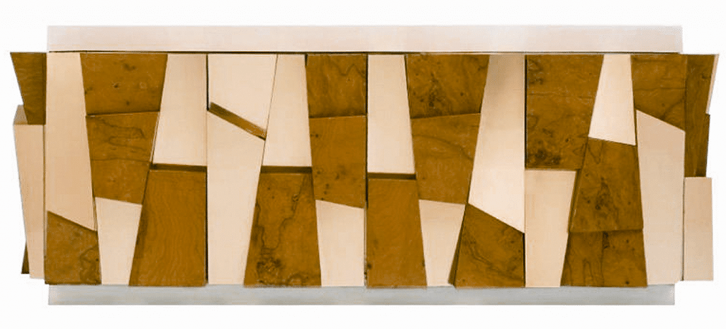 Faceted credenza by Evans for Directional, 1970s. Maple burl, brass, enameled fiberglass; height 32, width 82, depth 24 inches. Courtesy of SJAE Alexandre Collection, Los Angeles.