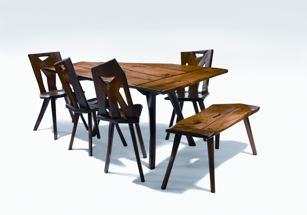 Dining set by Esherick, 1928. Walnut with ebony trim; height (of table) 28 ½, length 62, width 41 ½ inches. The five-sided table was made for the dining room of the Esherick family farmhouse. Courtesy of the Wharton EsherickMuseum, photograph by Elizabeth Field.