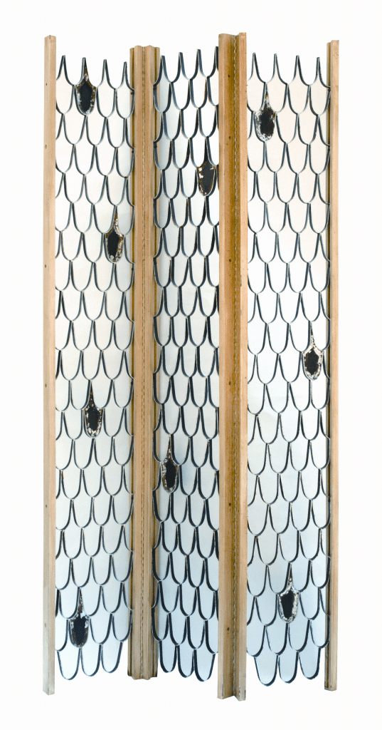 Screen by Powell and Paul R. Evans (1931-1987), c. 1955. Walnut, metal, silver and gold leaf; height 95 ¼, overall width 43 ½ inches. Courtesy of Todd Merrill Antiques.