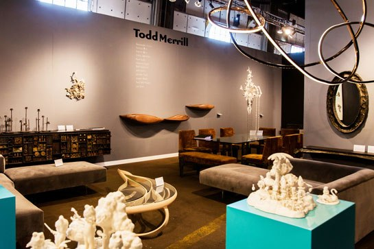 The Todd Merrill Studio Contemporary booth offers unique new works, curated and commissioned by the esteemed dealer. Photo: Liz Ligon, courtesy of Collective Design Fair