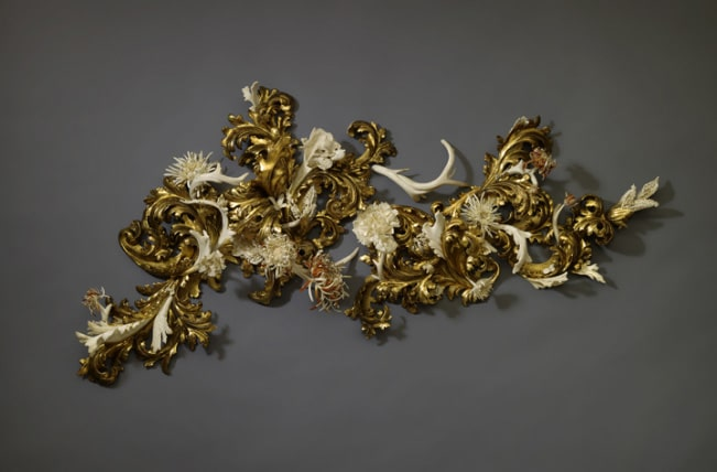 "Jennifer Trask, ""Burgeon,"" USA, 2012, Found 18th & 19th century Italian gilt wood fragments, 22K & 23.5 K gold leaf, antler, bone, teeth (various), epoxy resin."