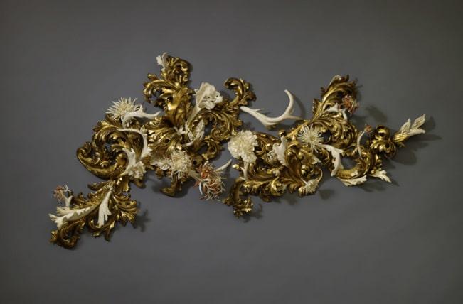 "Jennifer Trask, ""Burgeon,"" USA, 2012, Found 18th & 19th century Italian gilt wood fragments, 22K & 23.5 K gold leaf, antler, bone, teeth (various), epoxy resin."