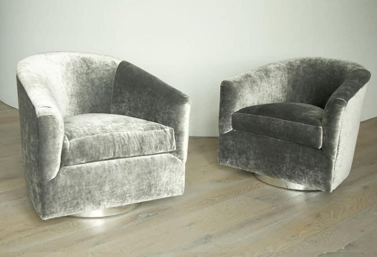 Milo Baughman Pair Of Swivel Chairs In Velvet ...