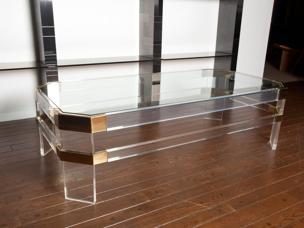 lucite and brass cocktail table by charles hollis jones todd