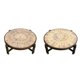 A-Pair-of-Low-Tables-with-Stoneware-Tile-Tops-by-Roger-Capron