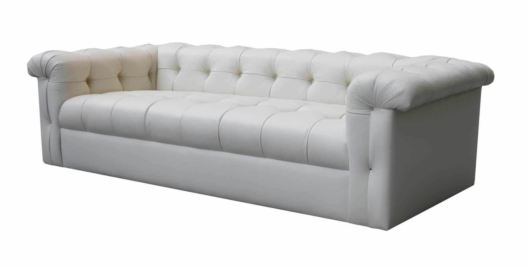 Edward Wormley Dunbar Six Foot Tufted Leather Sofa