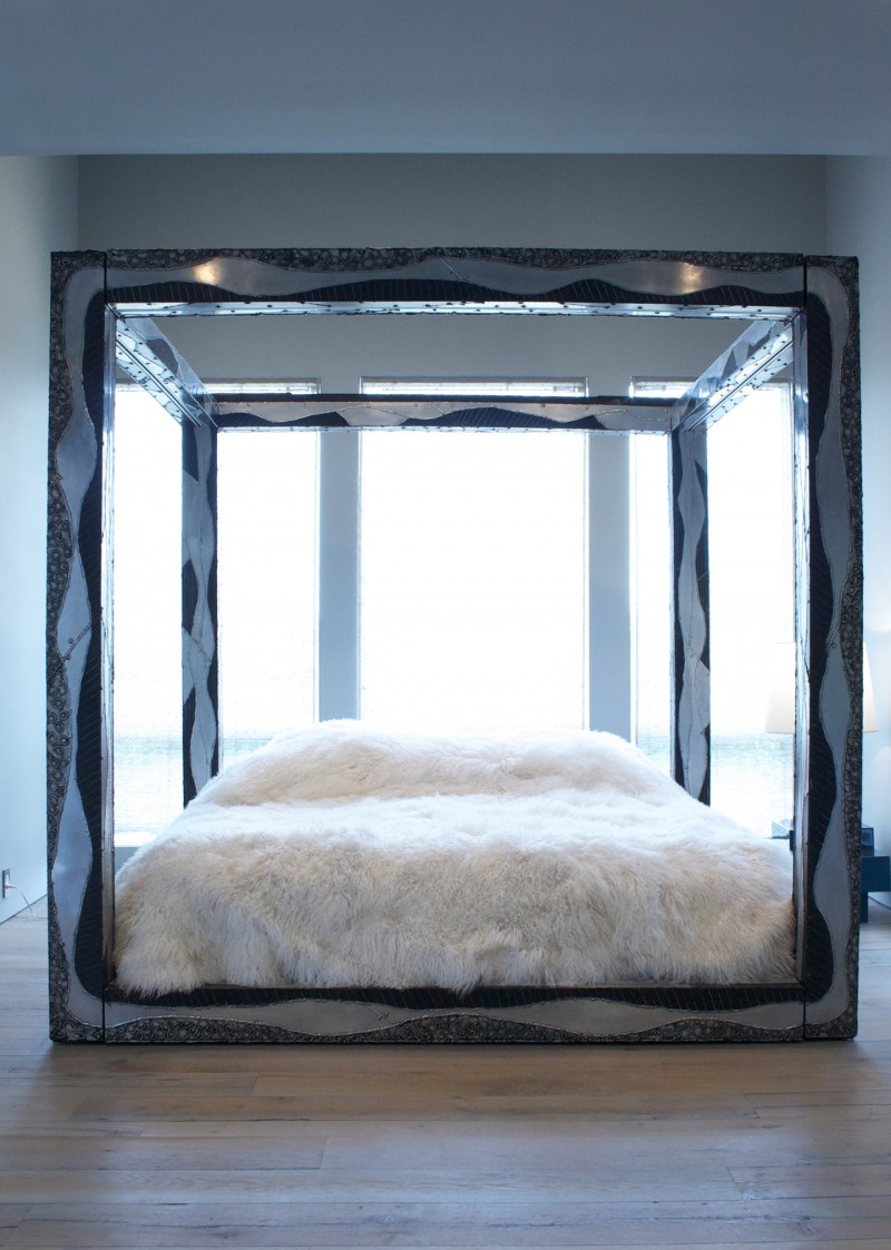 - Paul Evans Custom King Sized Argente Canopy Bed USA - Todd Merrill