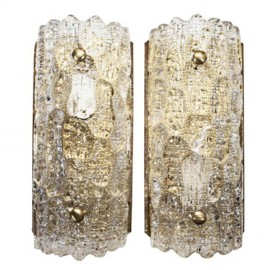 Pair-of-Crystal-and-Brass-Sconces-by-Orrefors