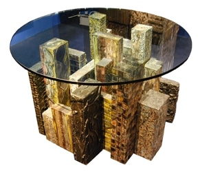 Paul Evans Dining Table in Sculpted Steel and Bronze 1970