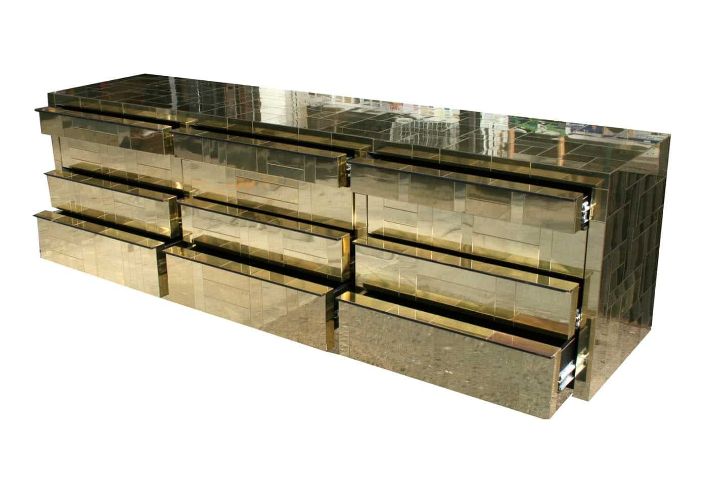 Paul Evans Directional Cityscape Dresser with 12 Drawers in Gold
