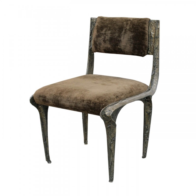 Great Paul Evans Side Chairs In Sculpted Bronze