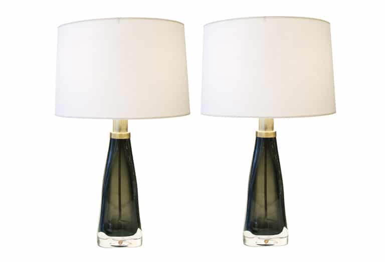 Orrefors, Pair Of Smokey Green Glass Table Lamps ...