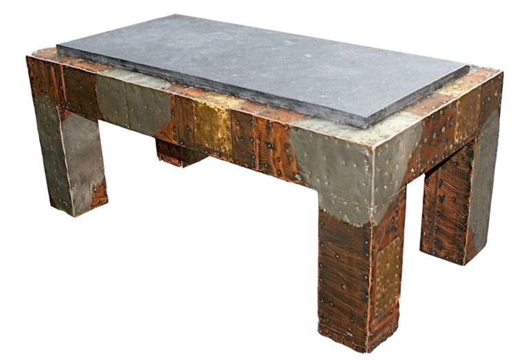 Bon Paul Evans Directional Patchwork Coffee Table With Slate Top