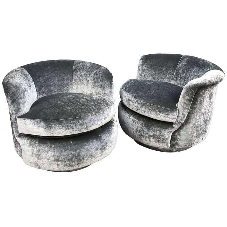 Milo Baughman, Pair Of Swivel Chairs ...