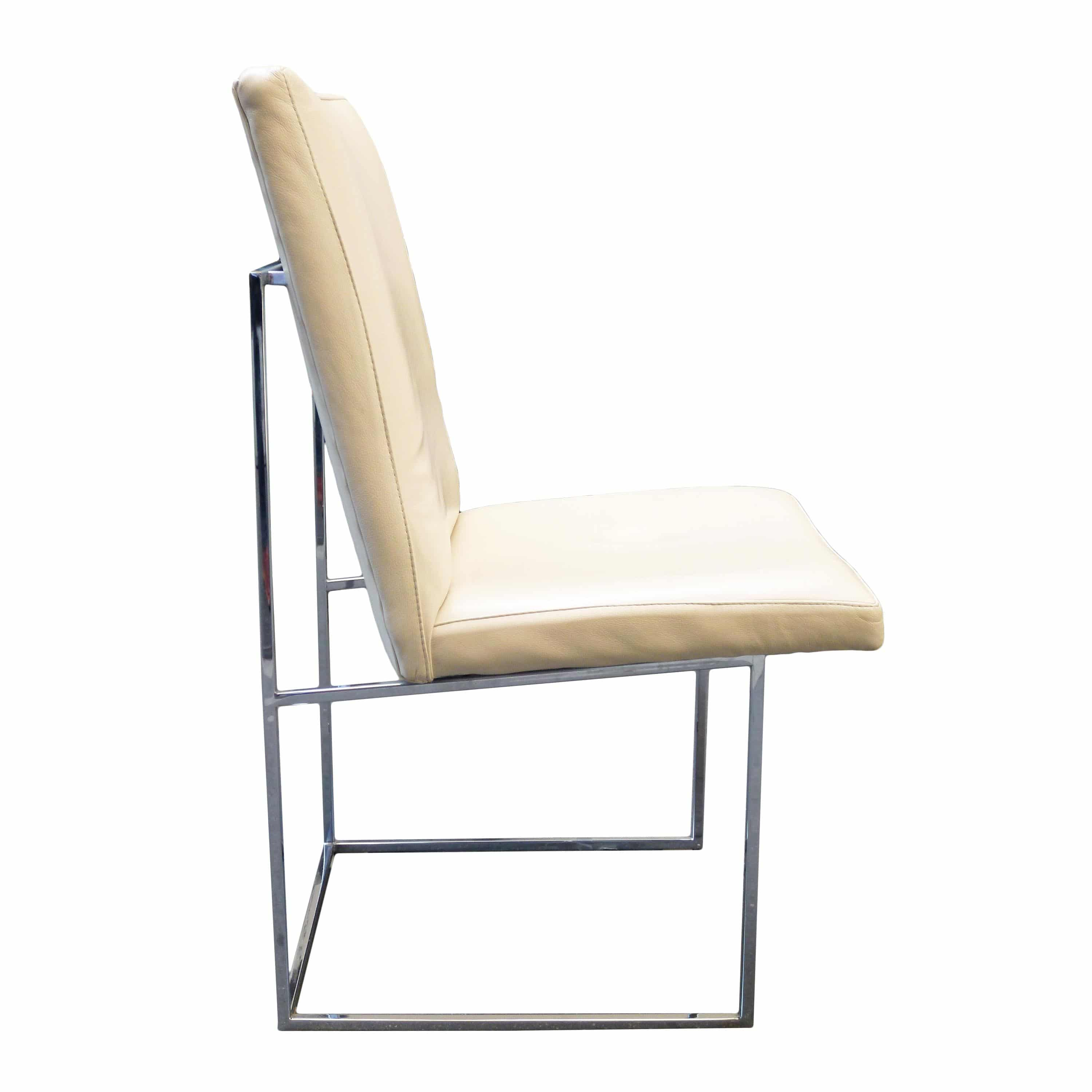 milo baughman set of 10 leather and chrome dining chairs usa c