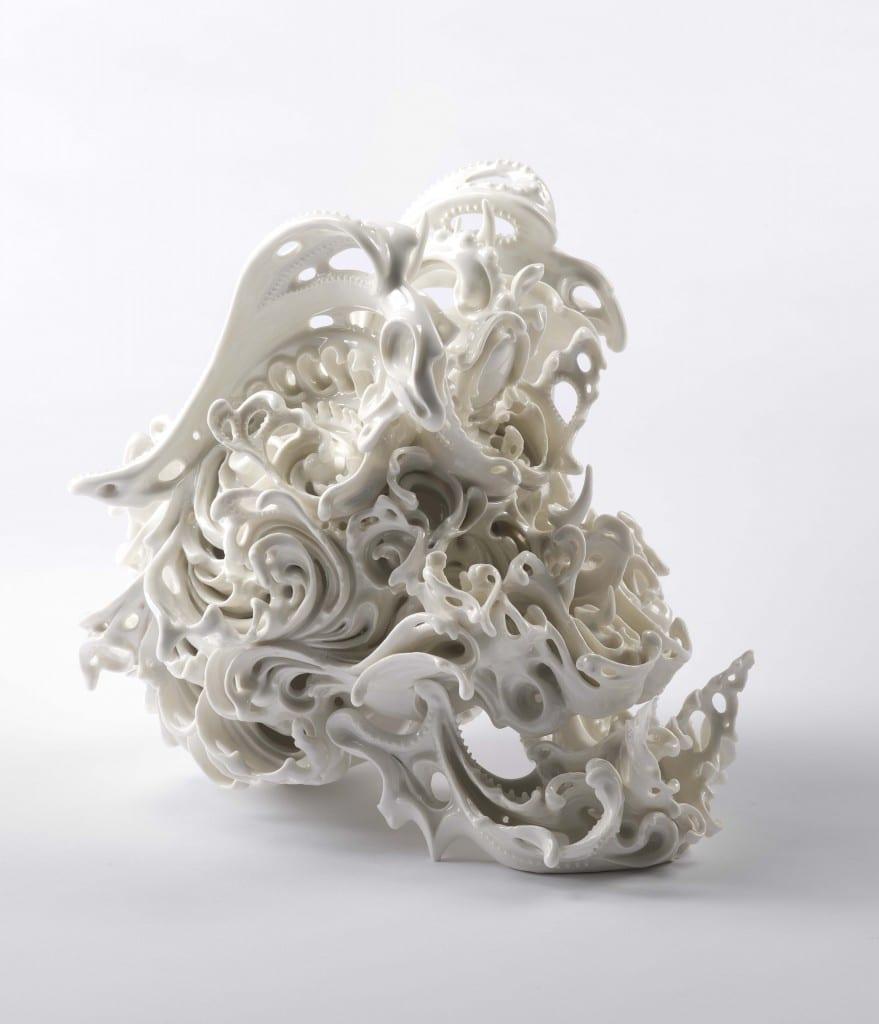 "Katsuyo Aoki, Predictive Dream Series Skull no. 44, porcelain, 12"" H x 11"" W x 14"" D, 2013"