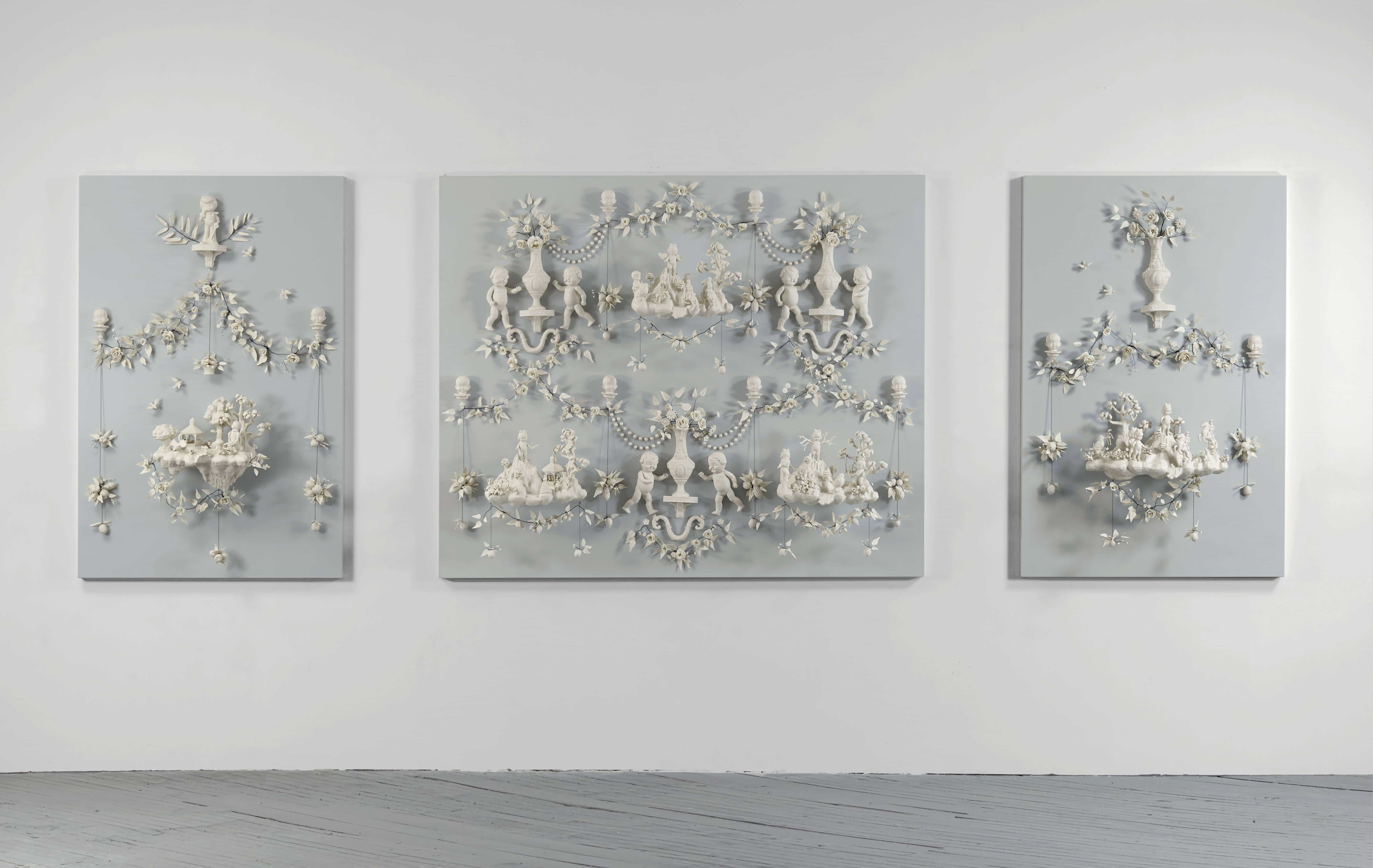 """""""Girls At War"""", porcelain & wire mounted on painted wood panels, by Beth Katleman, USA, 2013"""