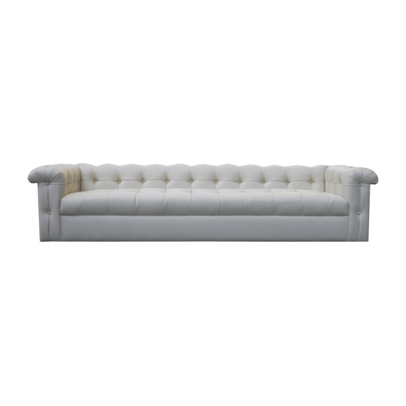 Edward Wormley Dunbar Eight Foot Tufted Leather Sofa