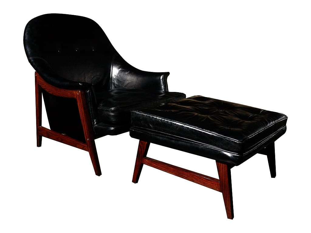 Black leather chair and ottoman - Edward Wormley Dunbar Leather Chair And Ottoman
