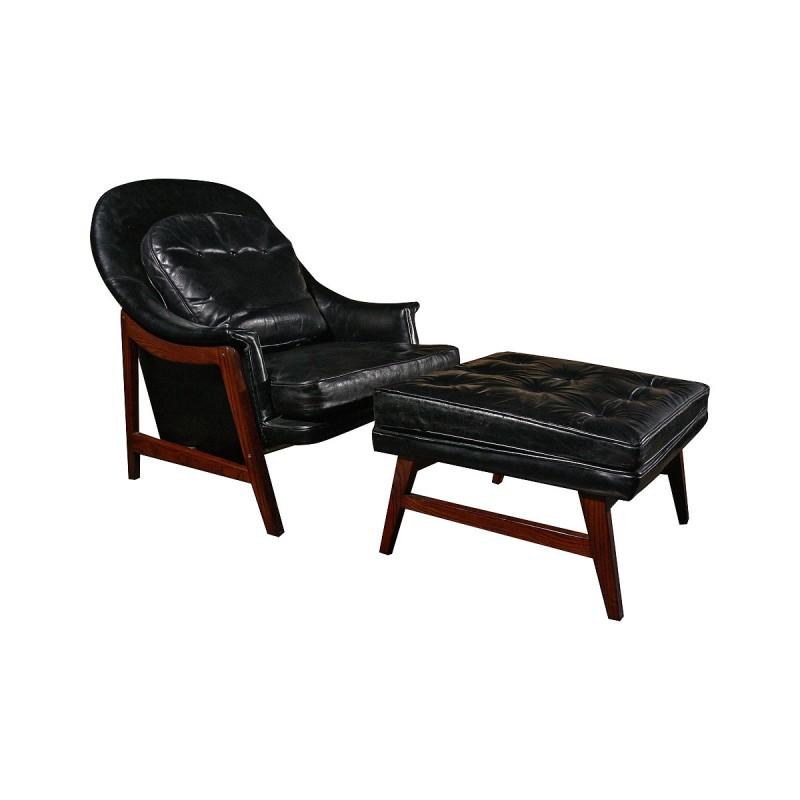 Edward wormley dunbar leather chair and ottoman todd merrill studio - Edward wormley chairs ...