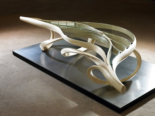 Enignum Low Table, Joseph Walsh, olive ash with white oil finish and glass, IRE, 2013