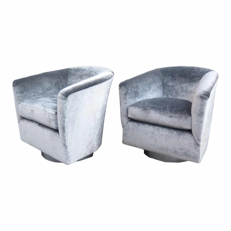 Lovely Milo Baughman Swivel Velvet Chairs