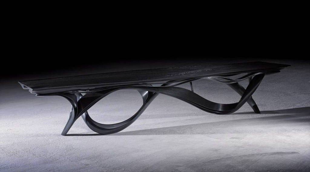 """Enignum XII"" Dining Table by Joseph Walsh IRE, 2013. Olive Ash with a black pigment finish."
