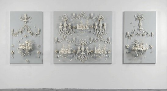 """Girls At War"", porcelain & wire mounted on painted wood panels, by Beth Katleman, USA, 2013"