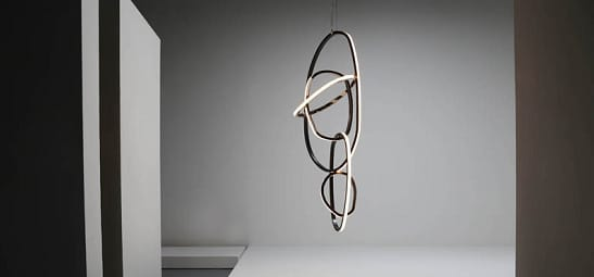 "Niamh Barry ""Shoulder"" Light Installation, IRE, 2013. Black patinated and mirror polished hand formed solid bronze, opal glass and LED lights."