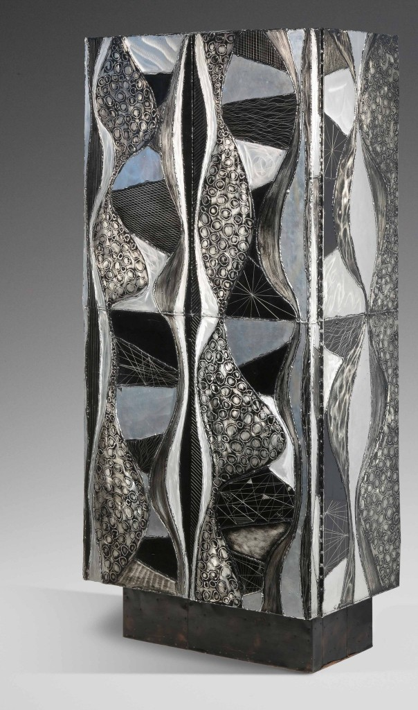 Paul Evans's armoire of welded and etched aluminum. Richard Goodbody/Brant Foundation