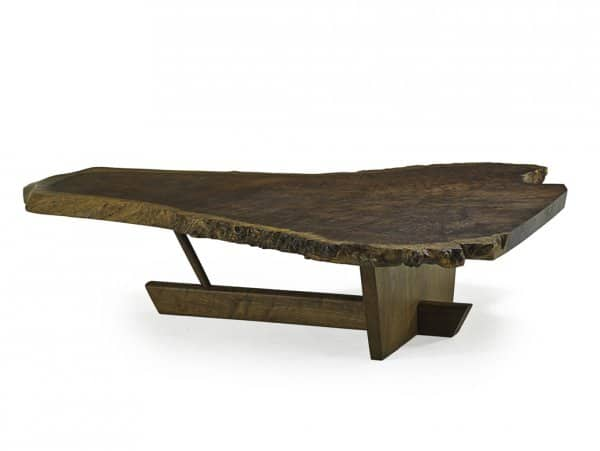 "From top: George and Mira Nakashima, transitional Minguren II coffee table, New Hope, PA, 1990, Claro walnut burl, walnut, 15 ½"" x 69"" x 55"";"