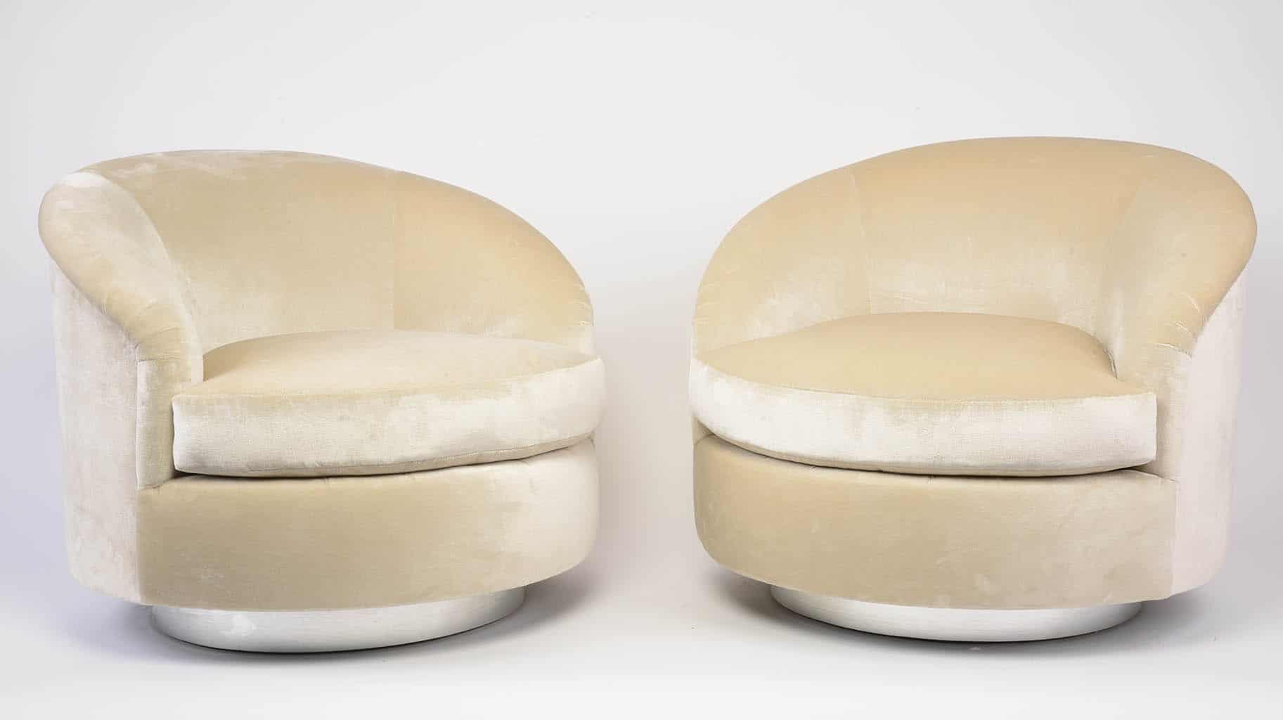 A Pair Of Swivel Demi Lune Chairs Designed By Milo Baughman ...
