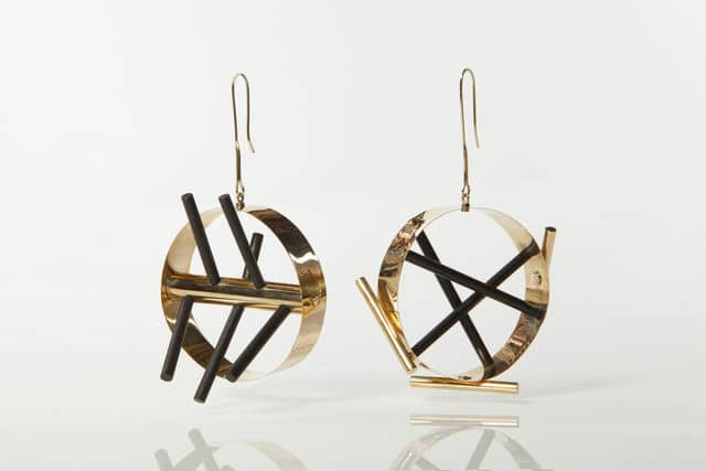Ettore Sottsass Gold earrings with ebony rods, 1984-1986 Didier Ltd.